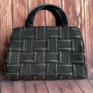 M&G BERTINI Vintage Black Gold Woven Bag Italy